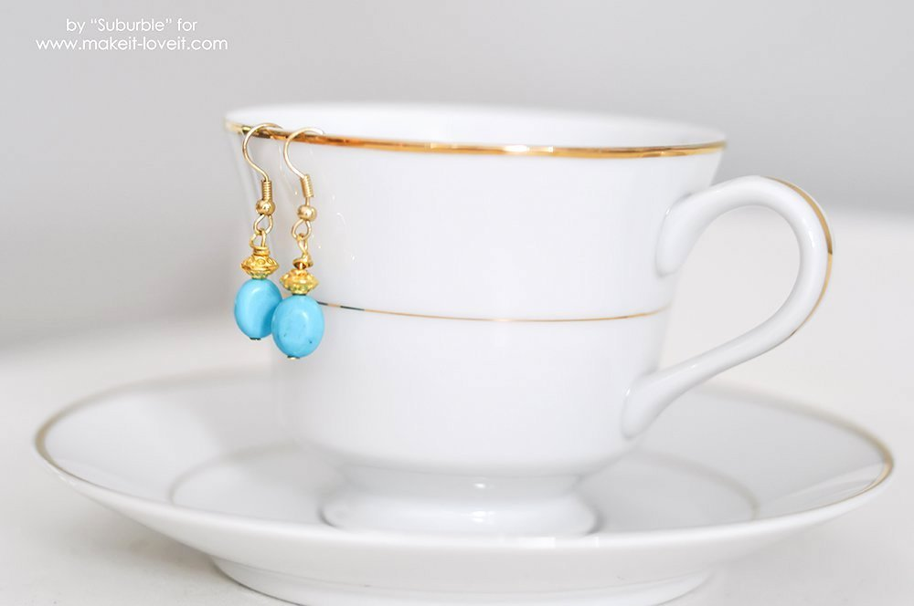 Easy Turquoise Earring Tutorial | via Make It and Love It