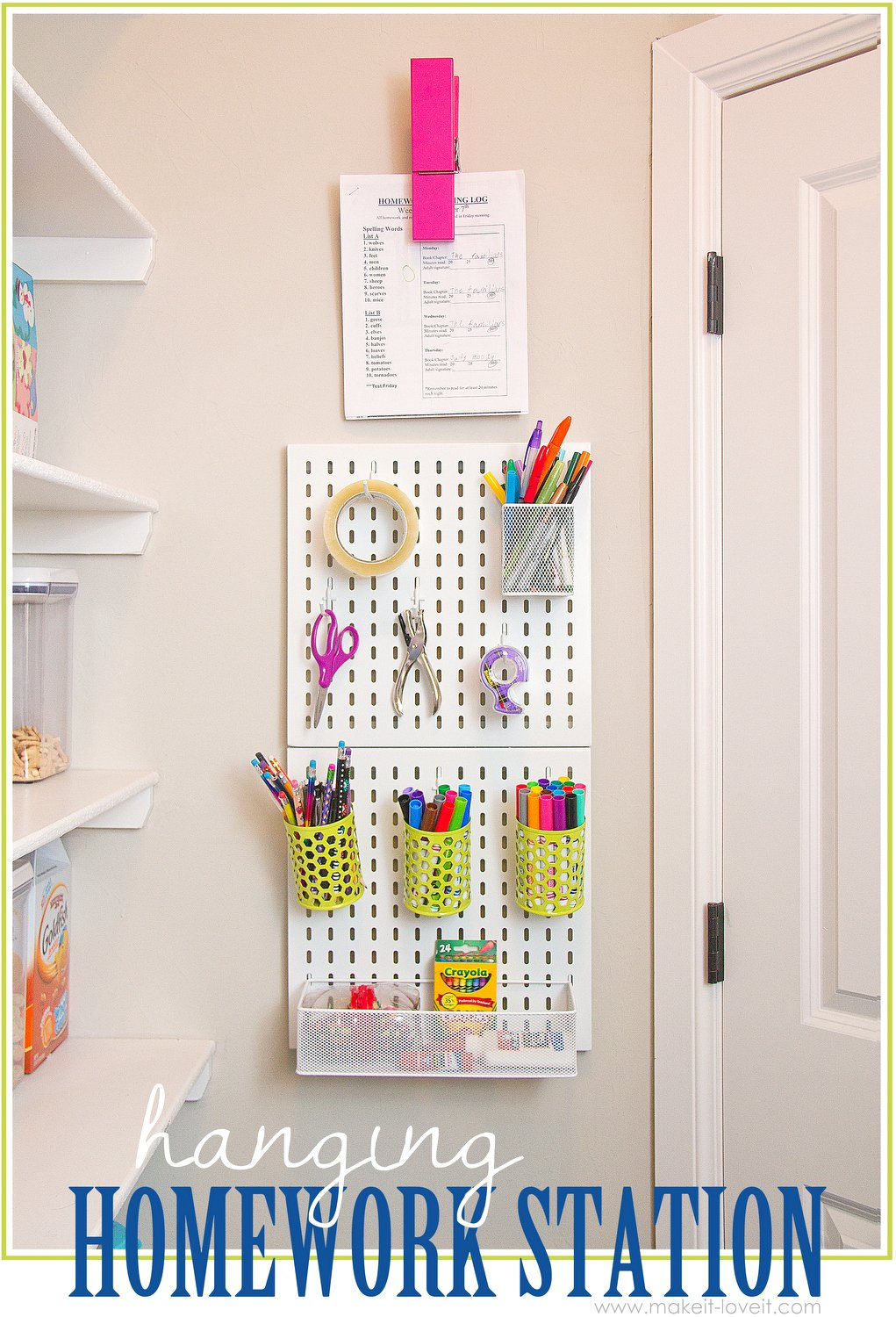 Hanging Homework Station (...or craft station!) | via Make It and Love it
