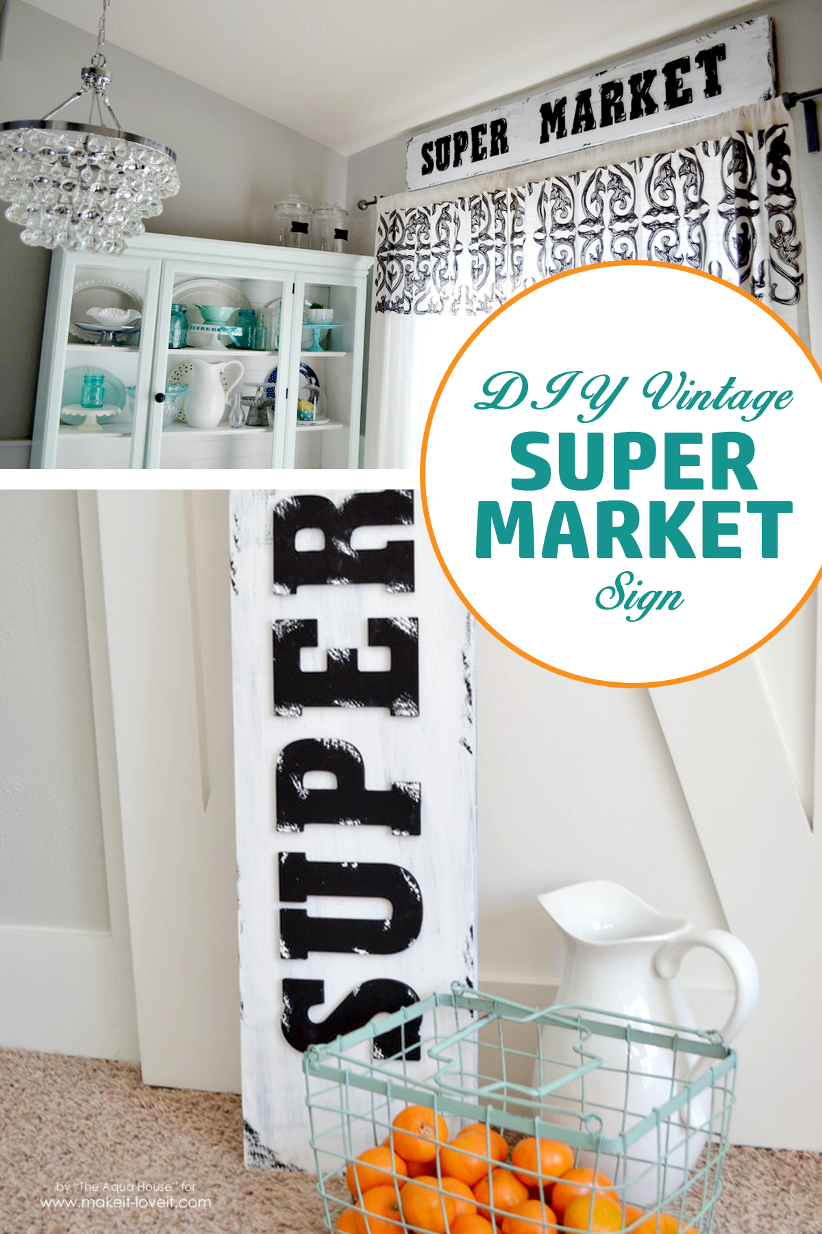 Diy vintage style super market sign