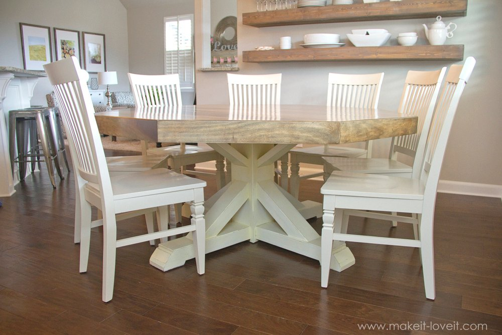 DIY Octagon Dining Room Table...with A Farmhouse Base. (Seats 8