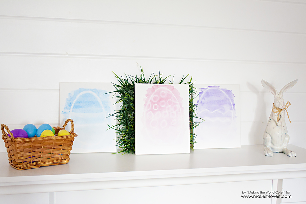 Watercolor resist easter egg canvases (12)