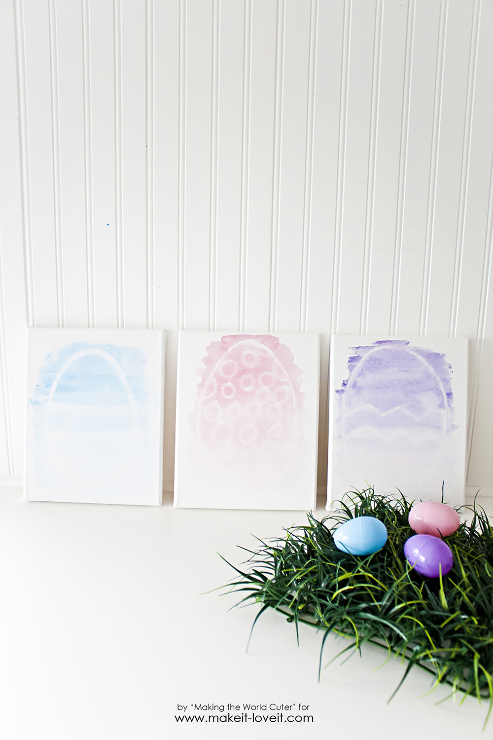 Watercolor Resist EASTER EGG Canvases   via Make It and Love It