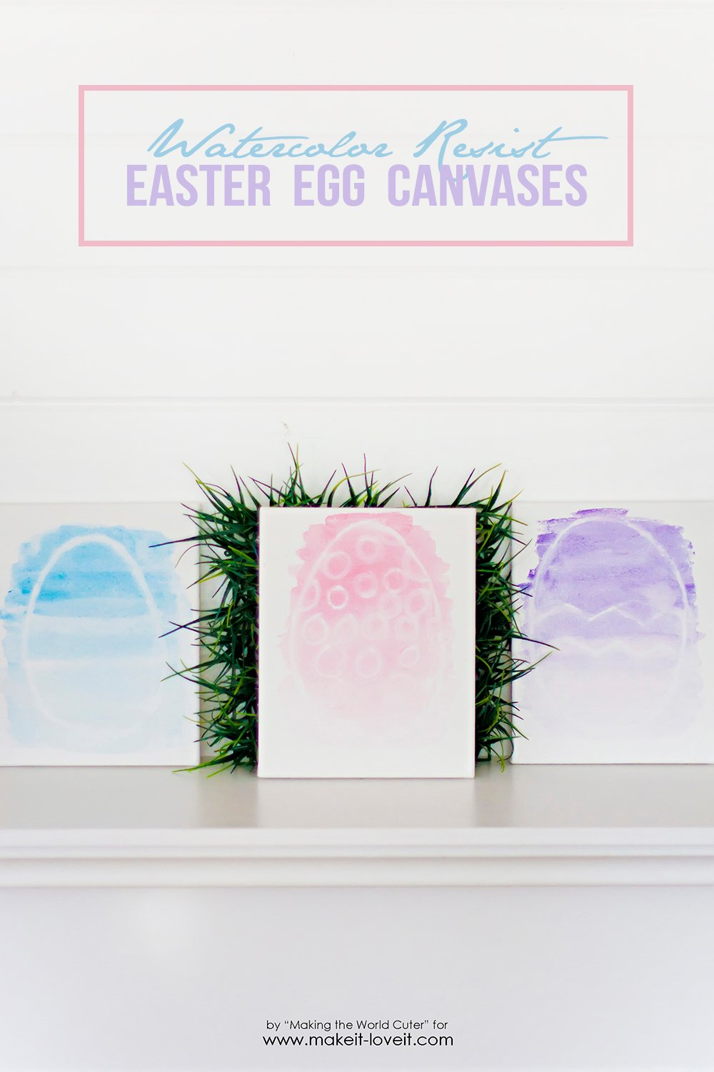 Watercolor Resist EASTER EGG Canvases