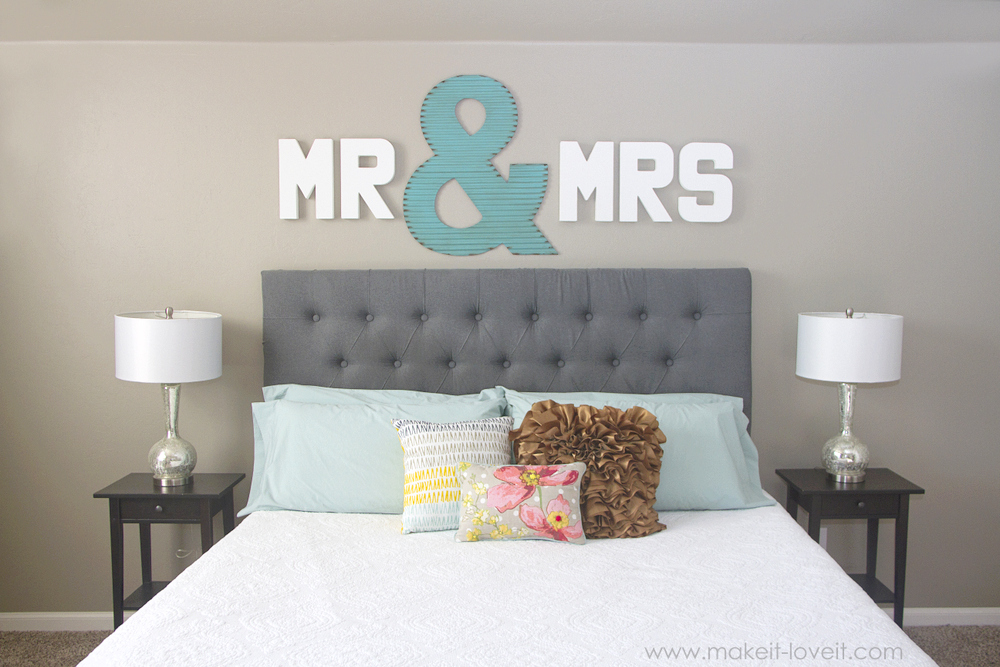 """Mr & Mrs"" Wall Display...fun master bedroom decor! via Make It and Love It"