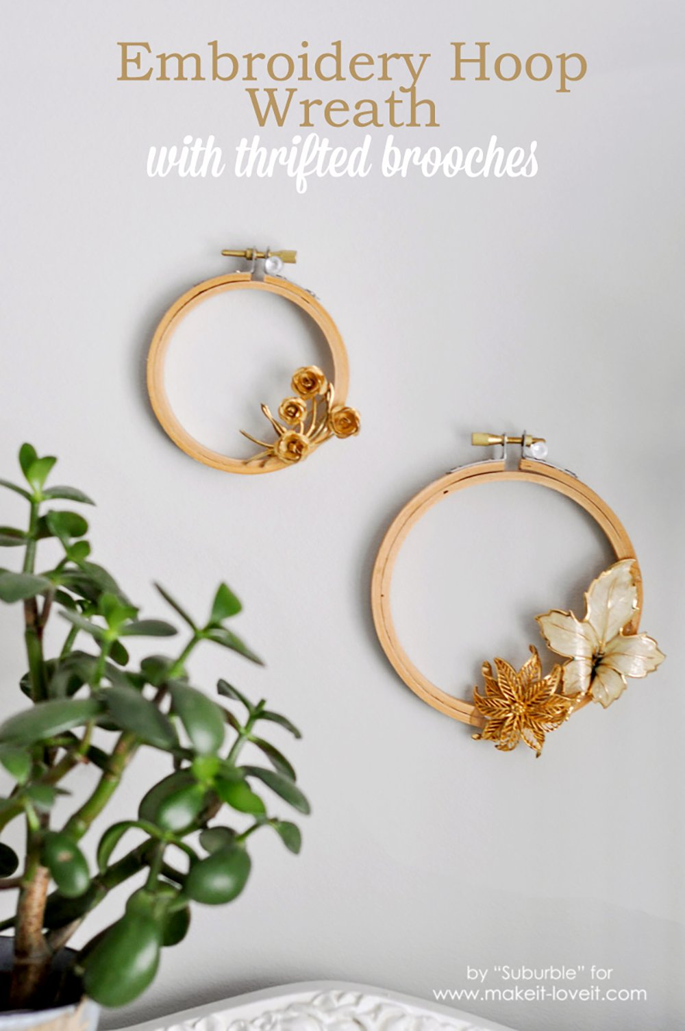 Embroidery hoop wreaths with thrifted brooches