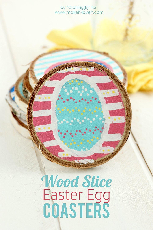 Wood Slice Easter Egg Coasters