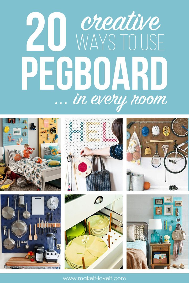 20 Creative Ways to use PEGBOARD in Every Room! | via Make It and Love It
