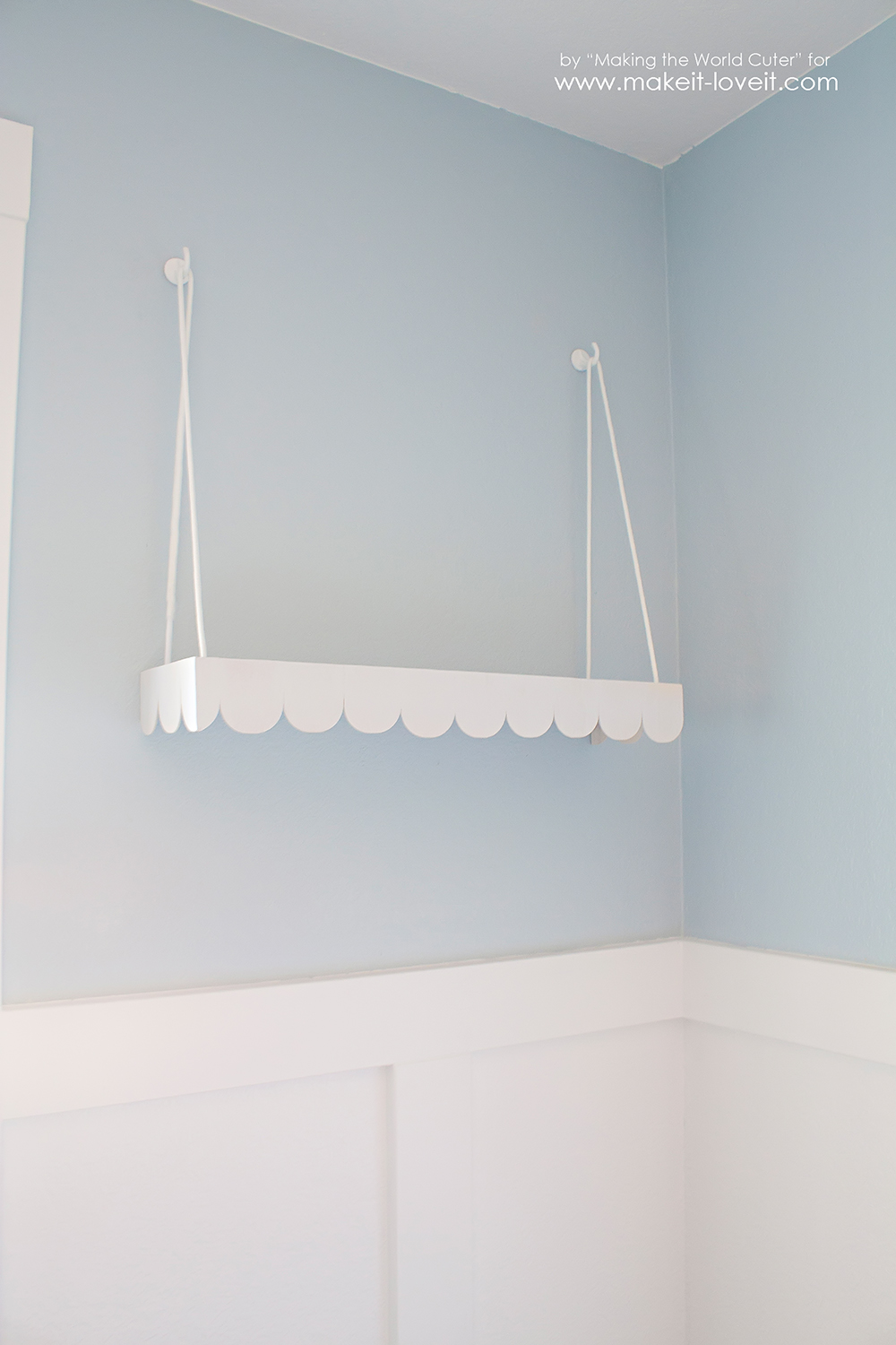 DIY Hanging Swing Shelf...with Scallop Edge   via Make It and Love It