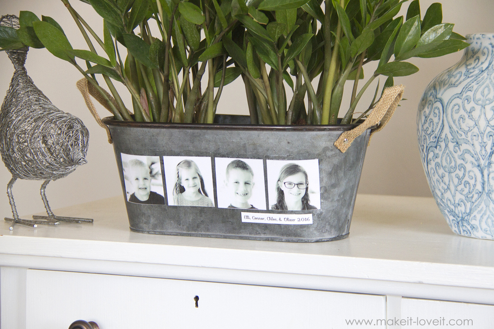 DIY Photo Flower Pot (...fun for Mother's Day!)   via Make It and Love It