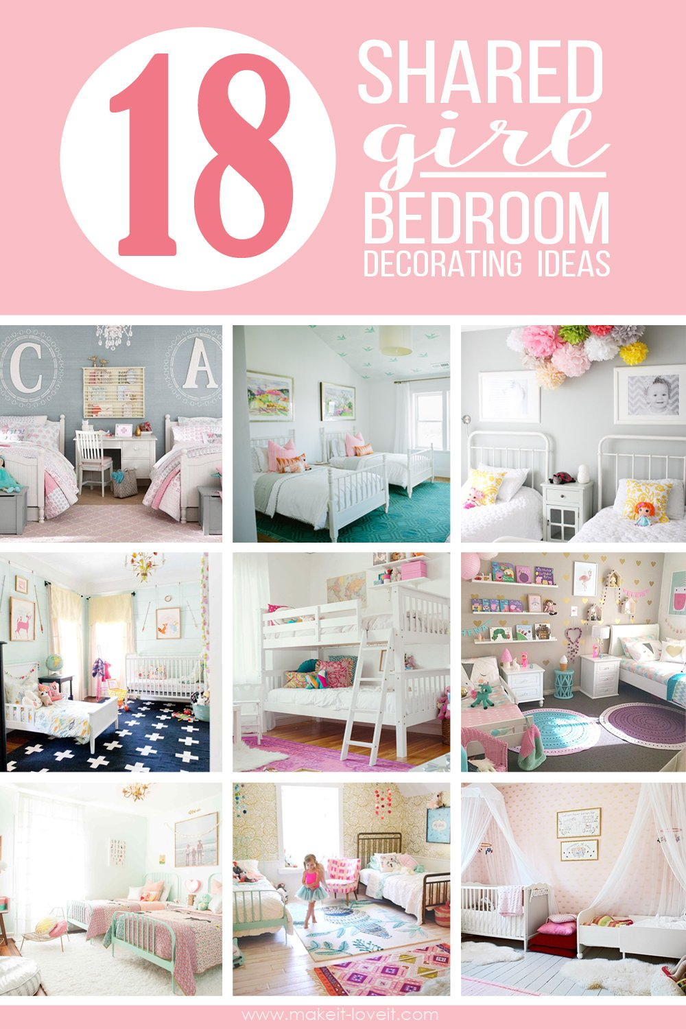 18 Shared Girl Bedroom Decorating Ideas Via Make It And Love