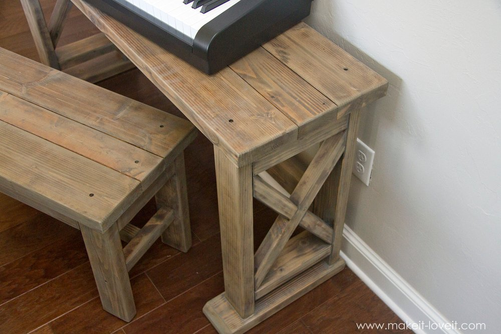 diy digital piano stand plus bench a 25 project make it and love it. Black Bedroom Furniture Sets. Home Design Ideas