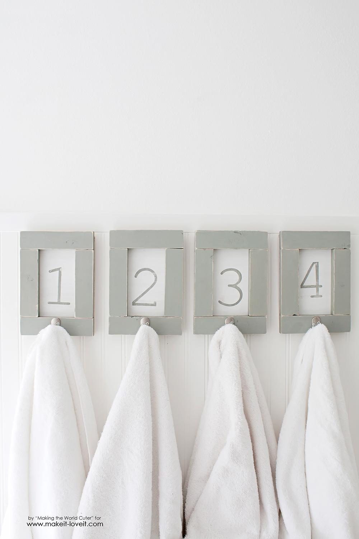 DIY Framed and Numbered Towel Hangers | via www.ashley1.mystagingwebsite.com