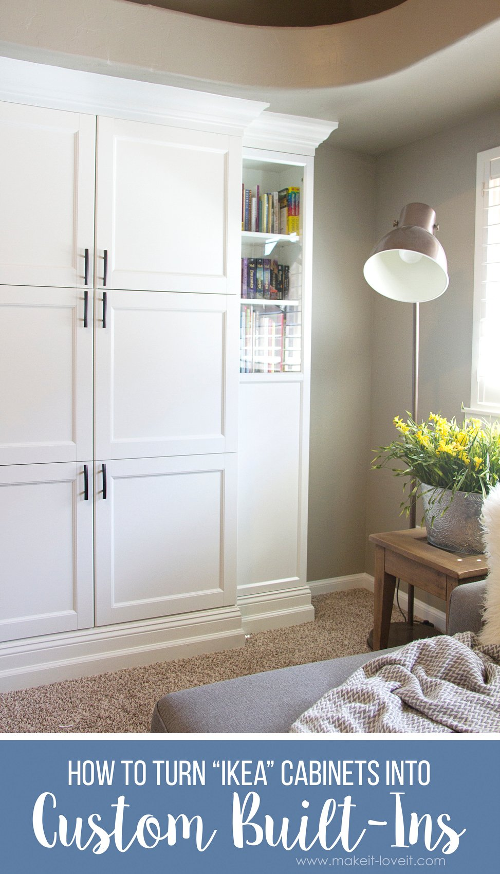 how to turn ikea bookshelves into custom built ins via wwwmakeit - Custom Bookshelves