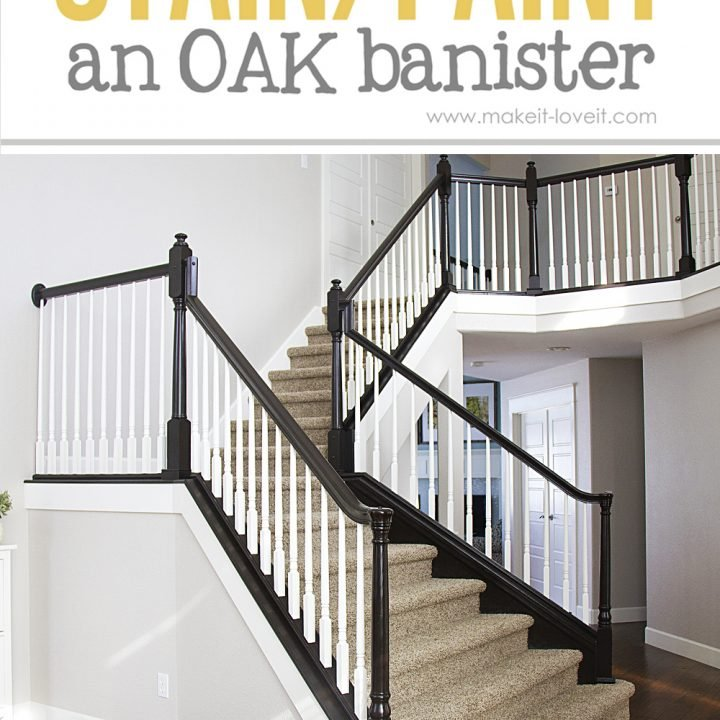 how to stain or paint wood stair railings (oak banisters and newel posts)