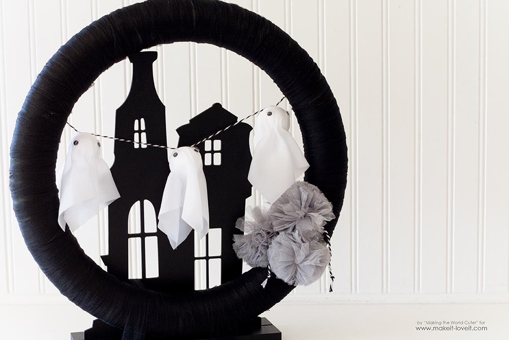 Make a Haunted House Ghost Wreath   via makeit-loveit.com