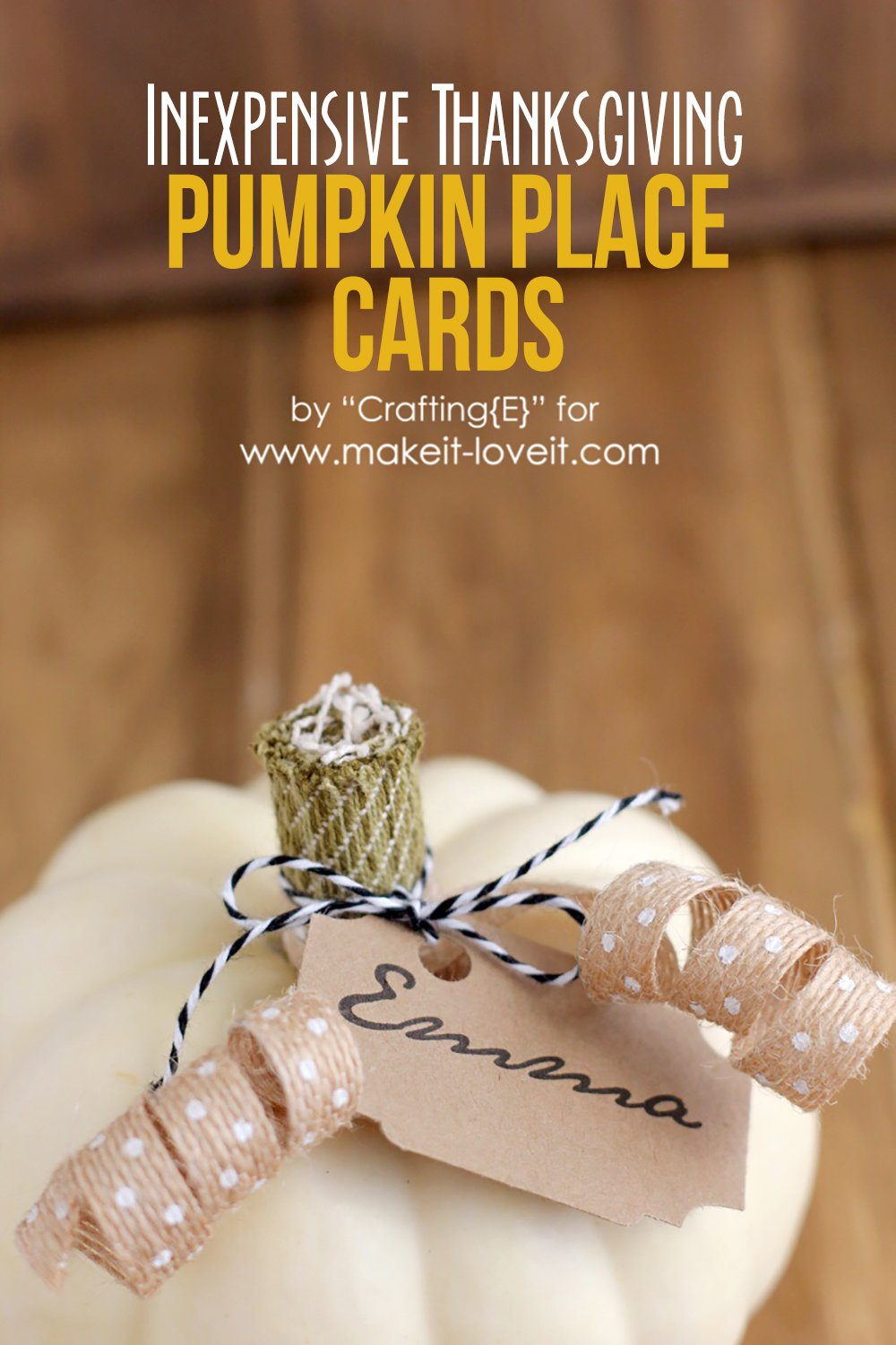 Inexpensive Thanksgiving Pumpkin Place Cards