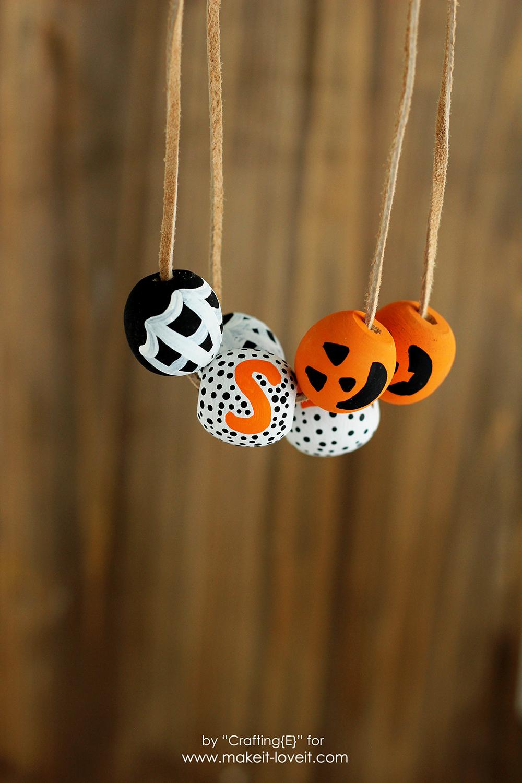 DIY Wooden Bead Halloween Necklaces | via www.ashley1.mystagingwebsite.com