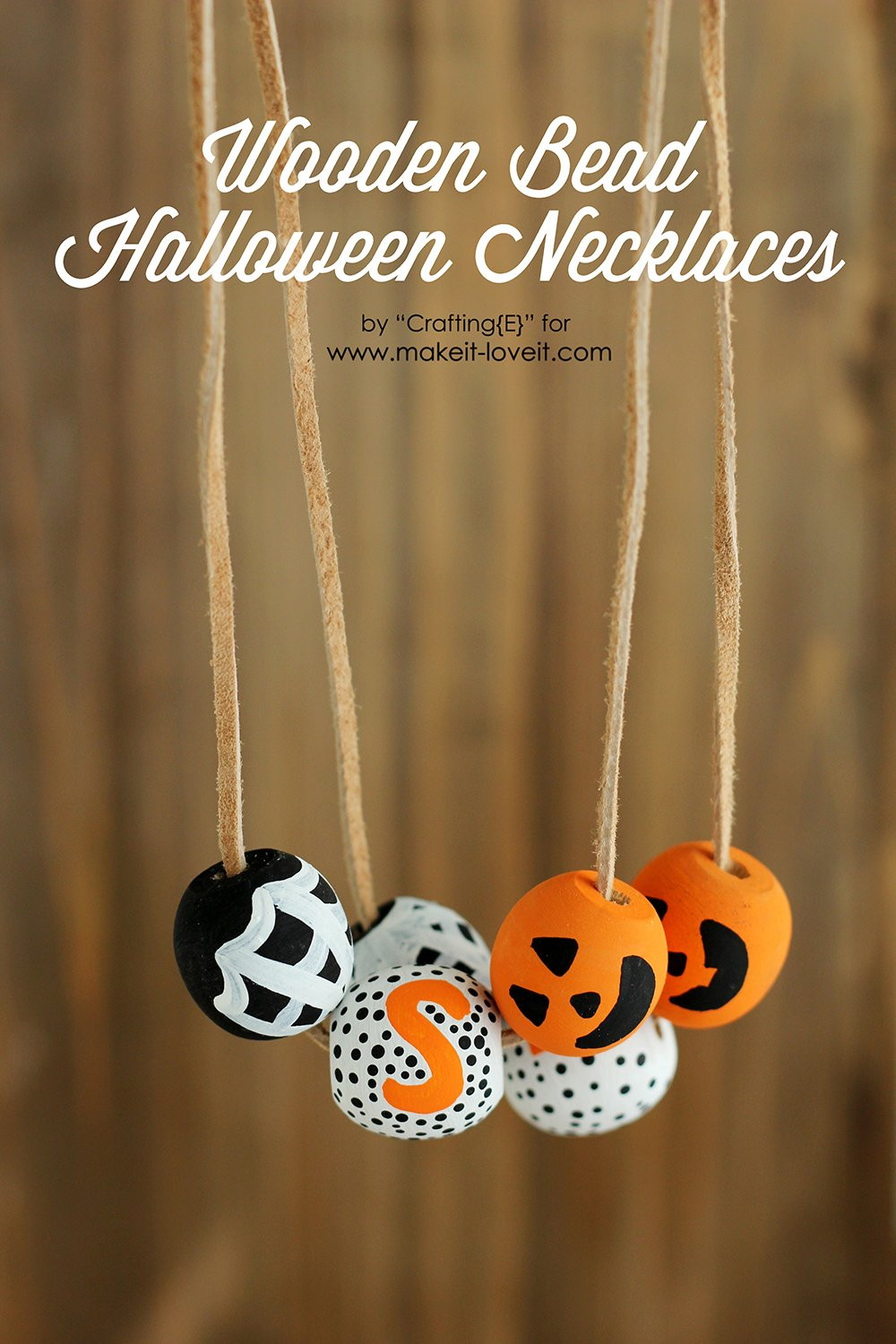 Wooden bead halloween necklaces