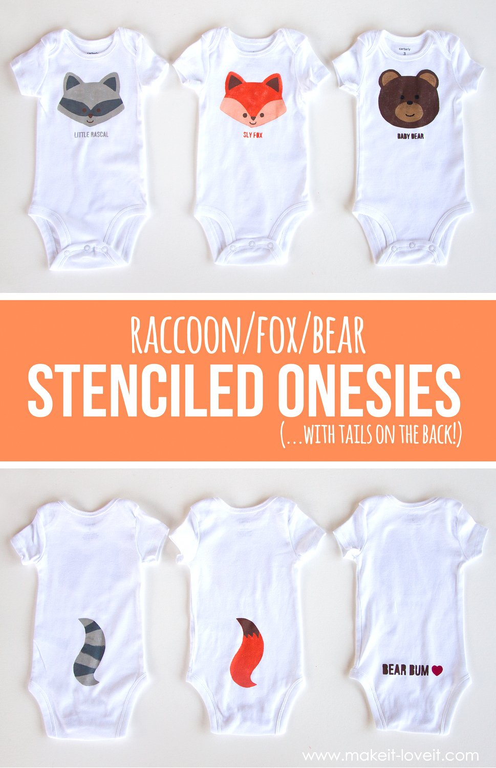 Fox/bear/raccoon diy stenciled onesies (…with tails on the back!)