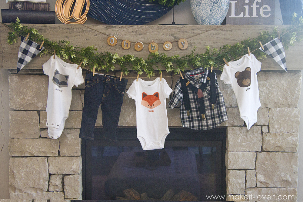 Fox, Bear & Raccoon DIY Stenciled Onesies (...with tails on the back!) | via www.makeit-loveit.com