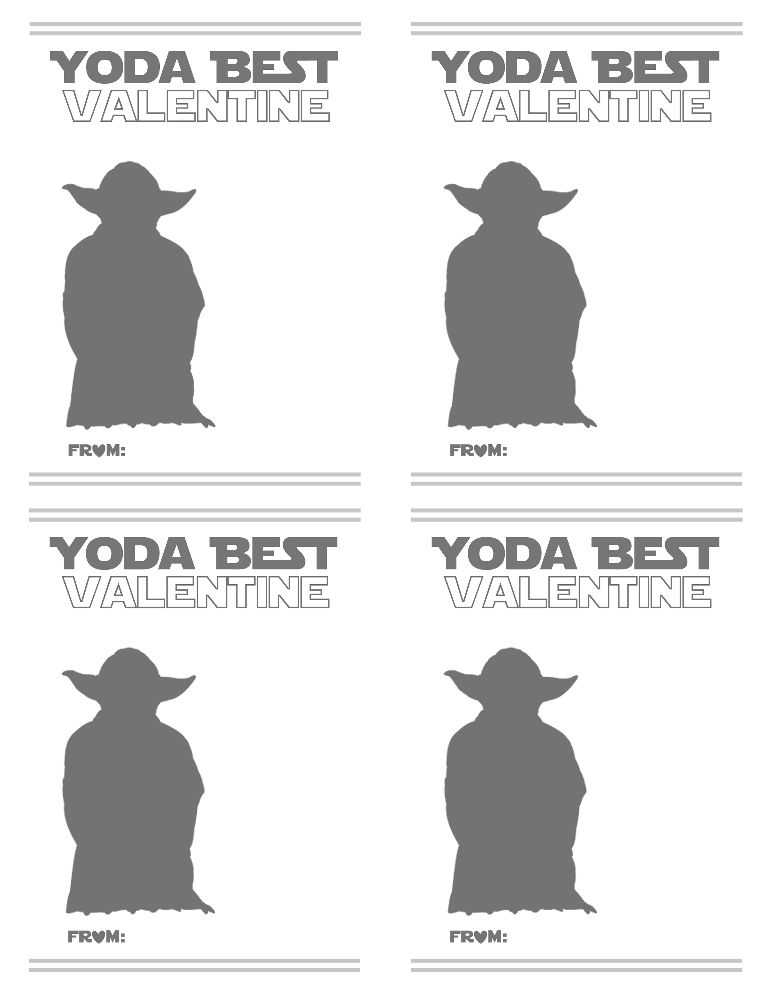 image about Yoda Printable referred to as F R E E Valentine Card Printables (\