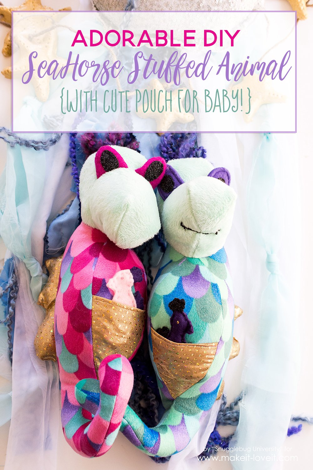 Adorable diy seahorse stuffed animal tutorial with pouch for baby