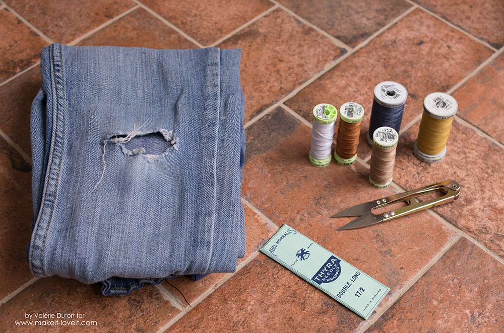 Jeans Mending For Cool Kids with Boro and Sashiko Embrodery
