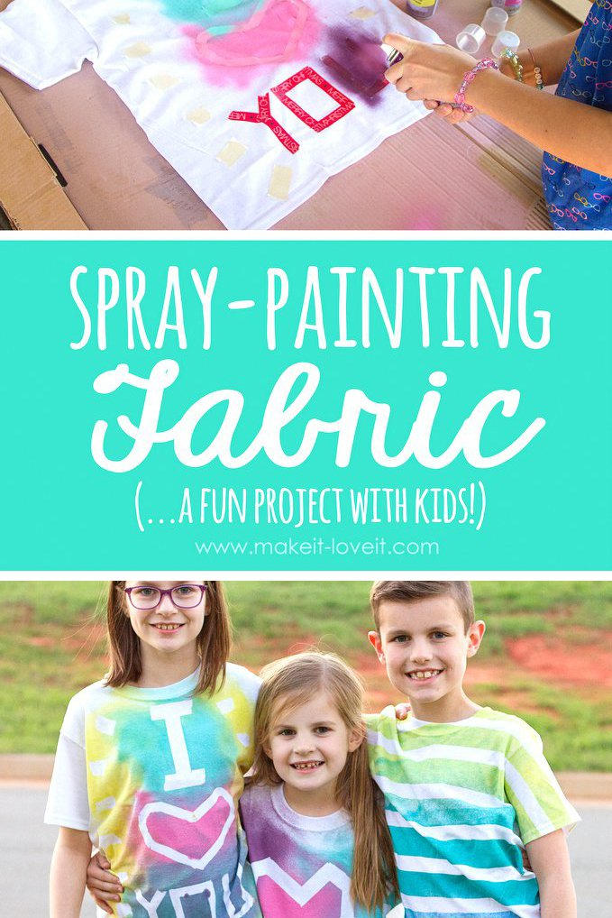 Spray painting fabric (…a fun project with kids!!!)