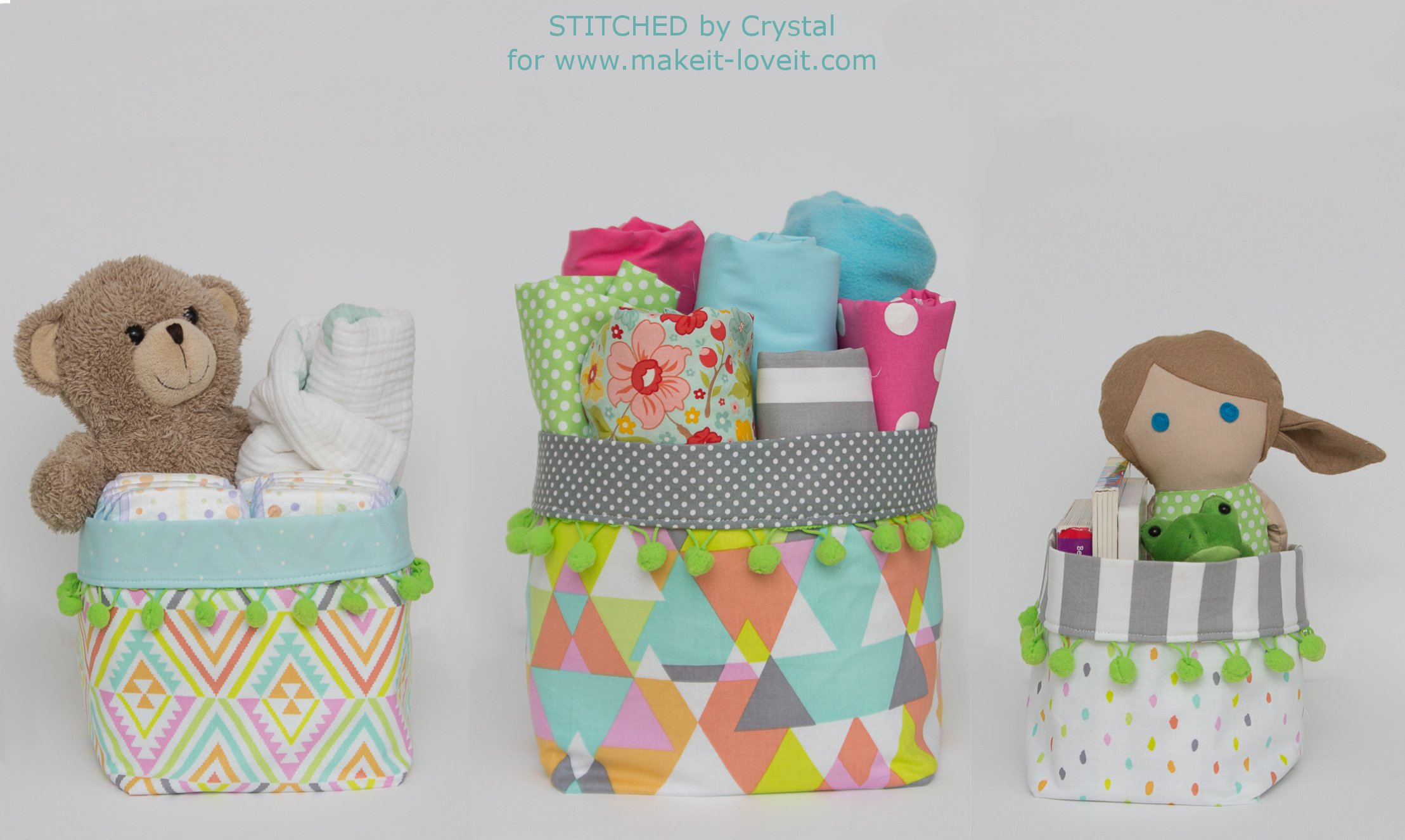 Pom Pom Trimmed Fabric Bins Tutorial...3 different sizes! | via makeit-loveit.com