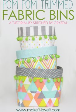 Pom Pom Trimmed Fabric Bins Tutorial