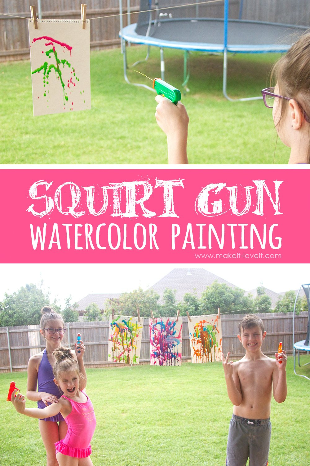Squirt gun watercolor painting….a fun summer project!!