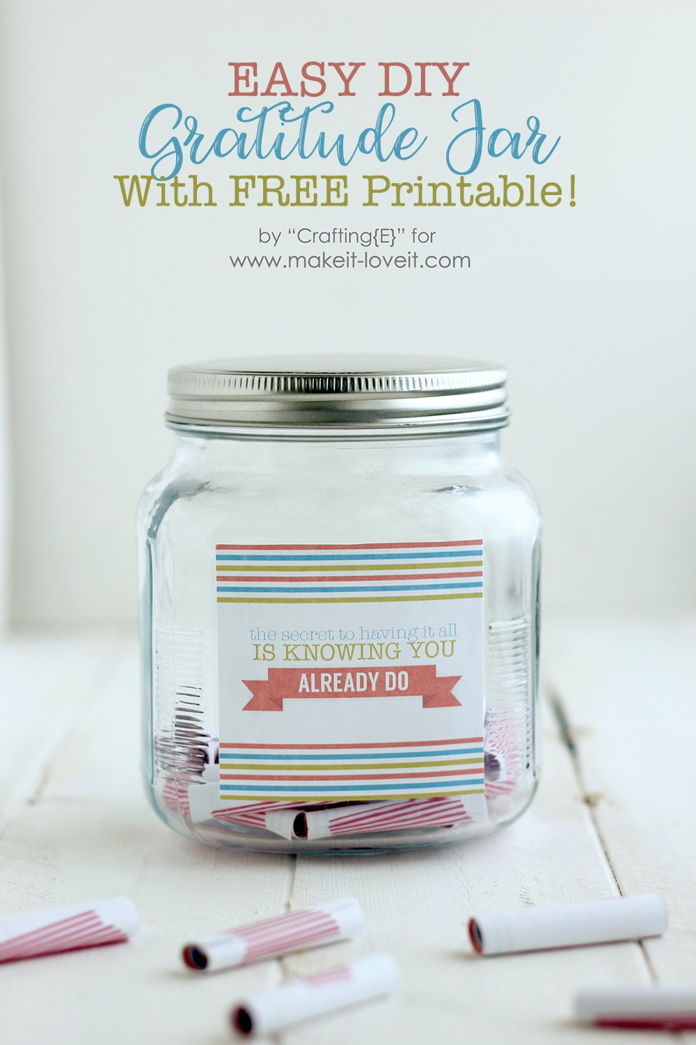Easy diy gratiude jar with free printable
