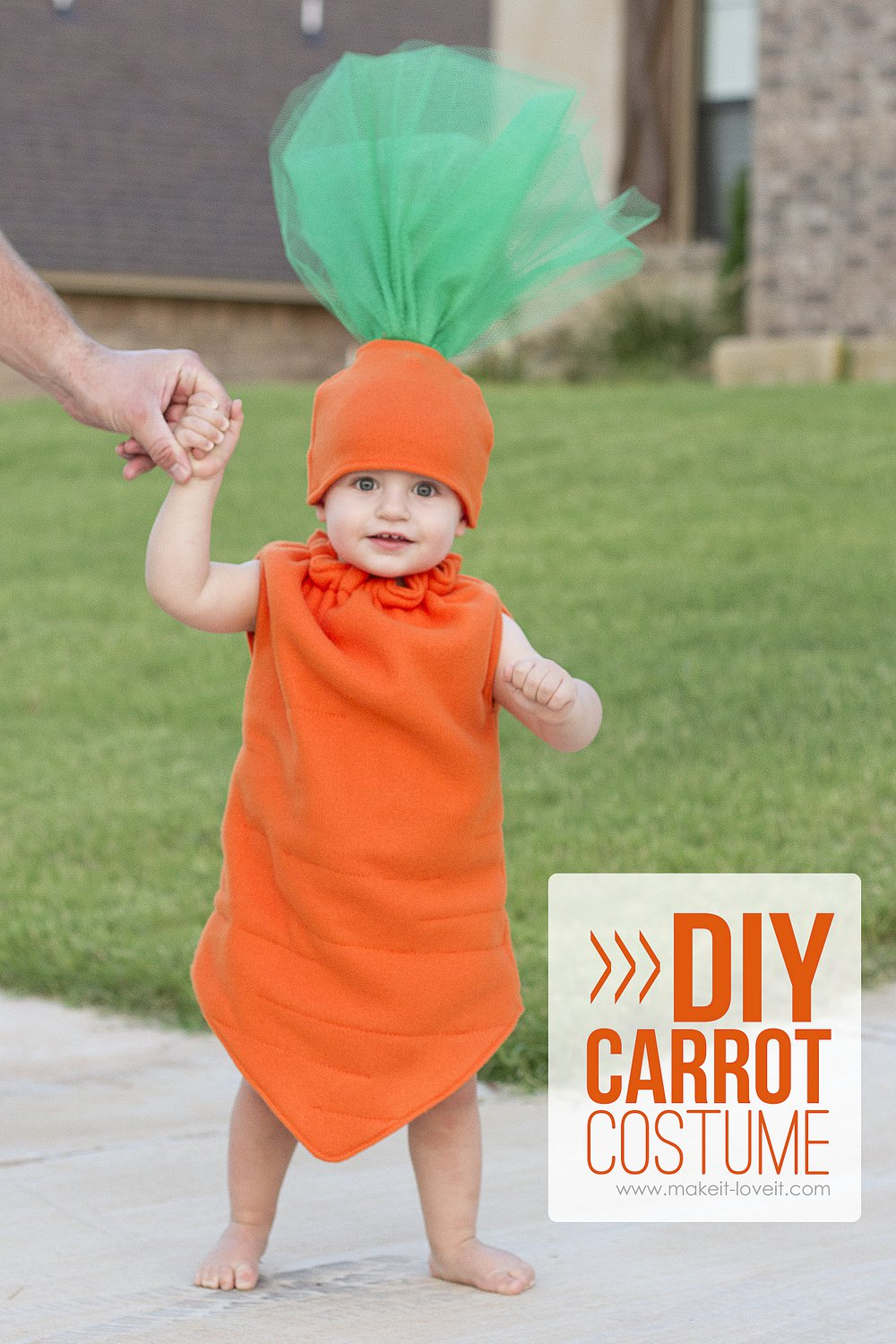 Make a baby lamb costumea simple tutorial make it and love it diy carrot costume save solutioingenieria Image collections