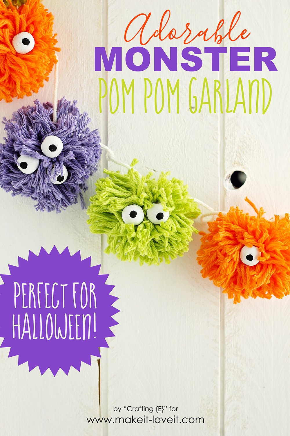 Adorable monster pom pom garland halloween craft for kids
