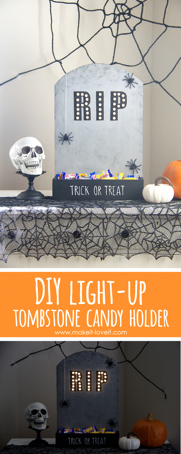 DIY Light-up Tombstone Candy Holder by Ashley Johnston