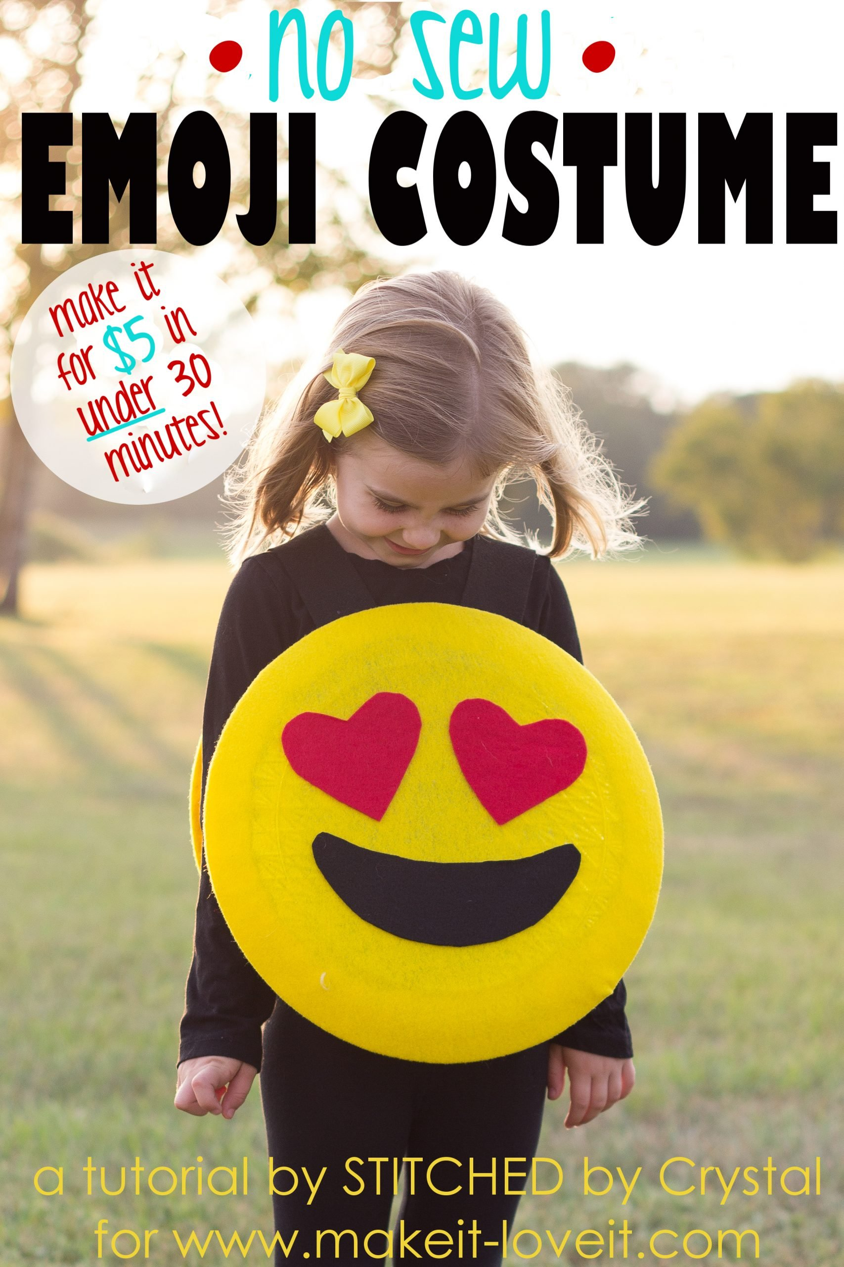 Make a quick no sew emoji costume