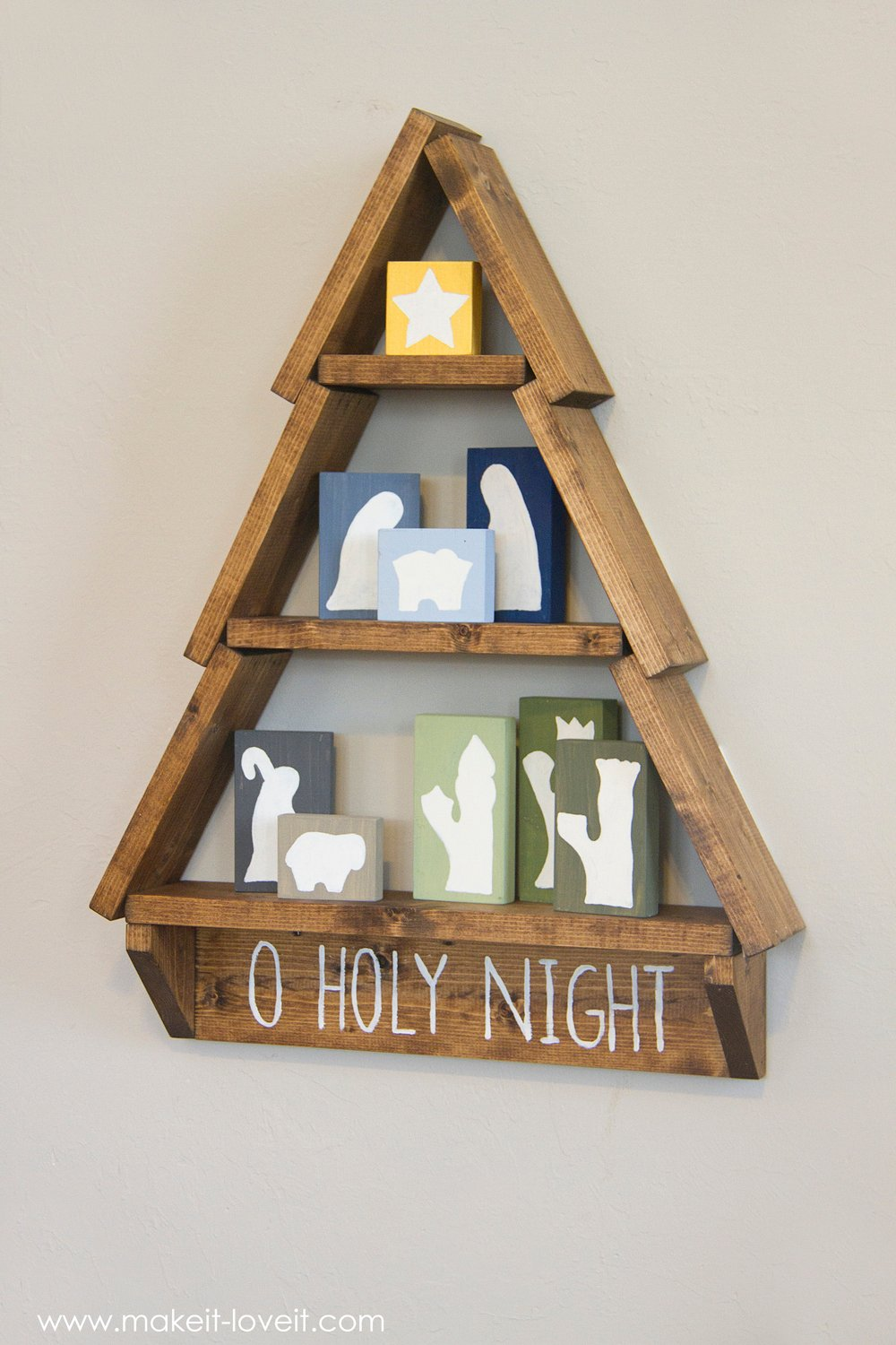 Diy Holiday Tree Shelf With Nativity Blocks Make It And Love It