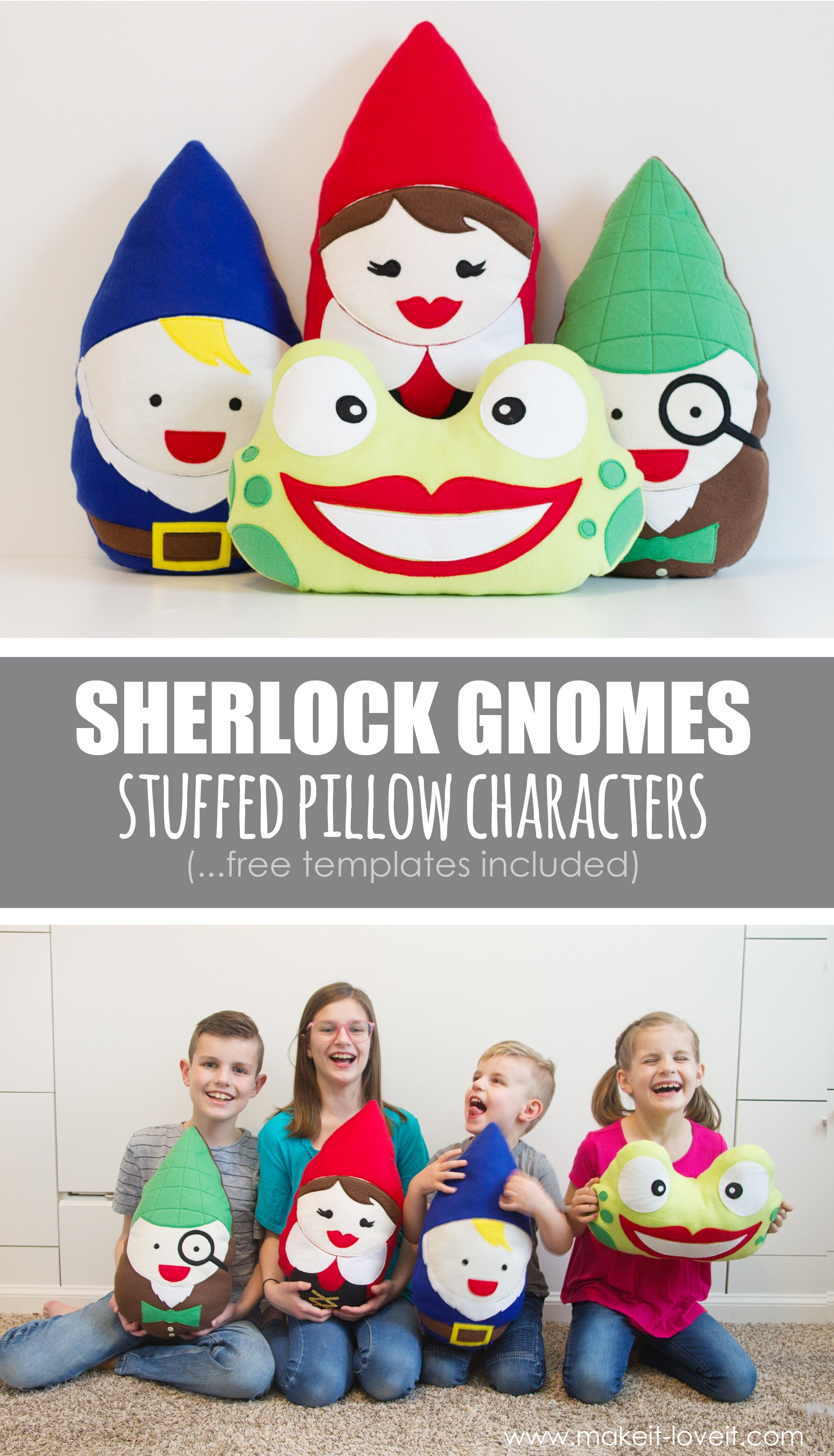 Diy sherlock gnomes stuffed pillow characters (…templates included)