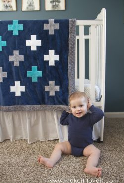 Self-Binding Minky Blanket...with a PLUS-SIGN APPLIQUE