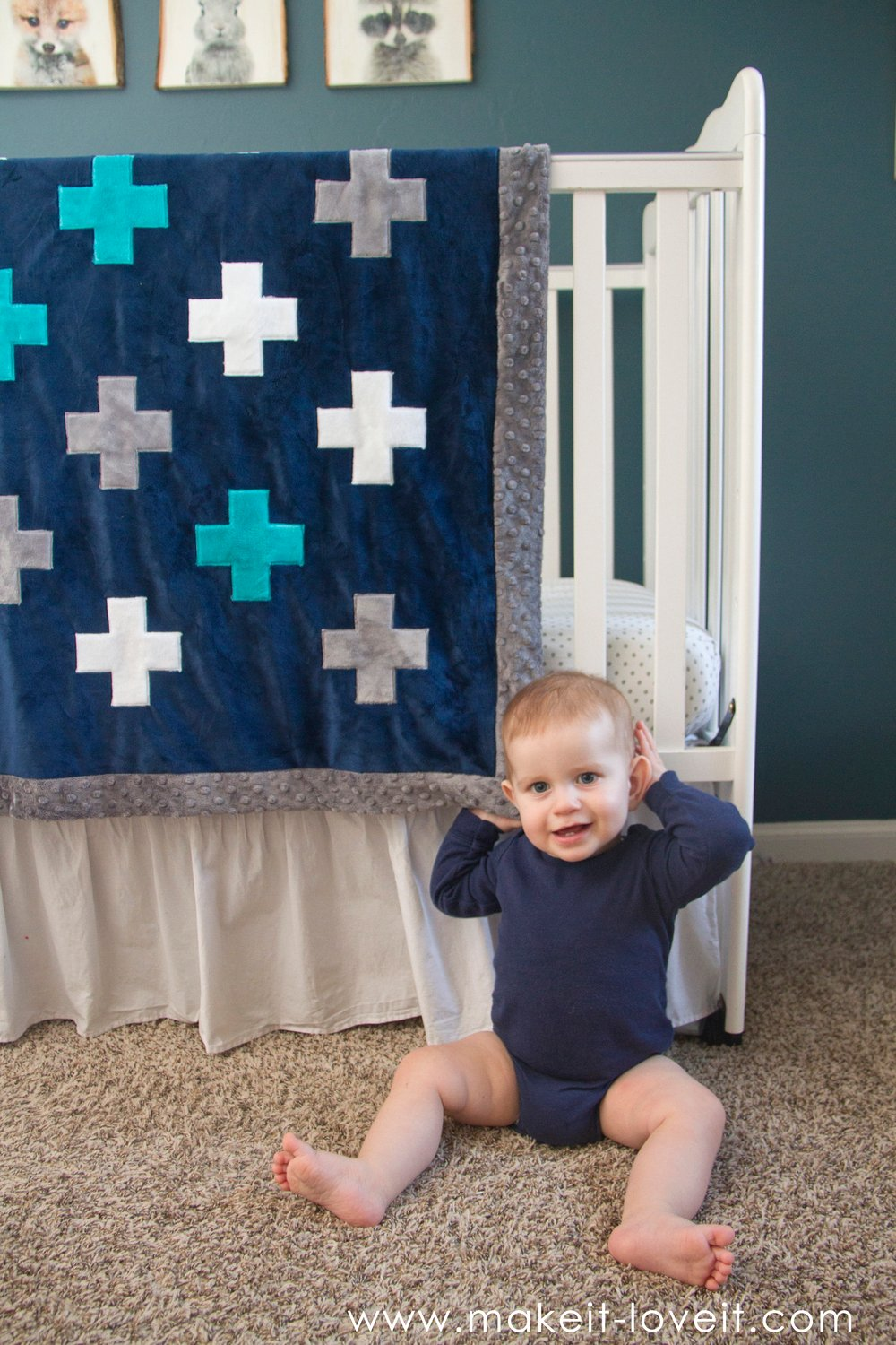 Self-binding minky blanket…with a plus-sign applique