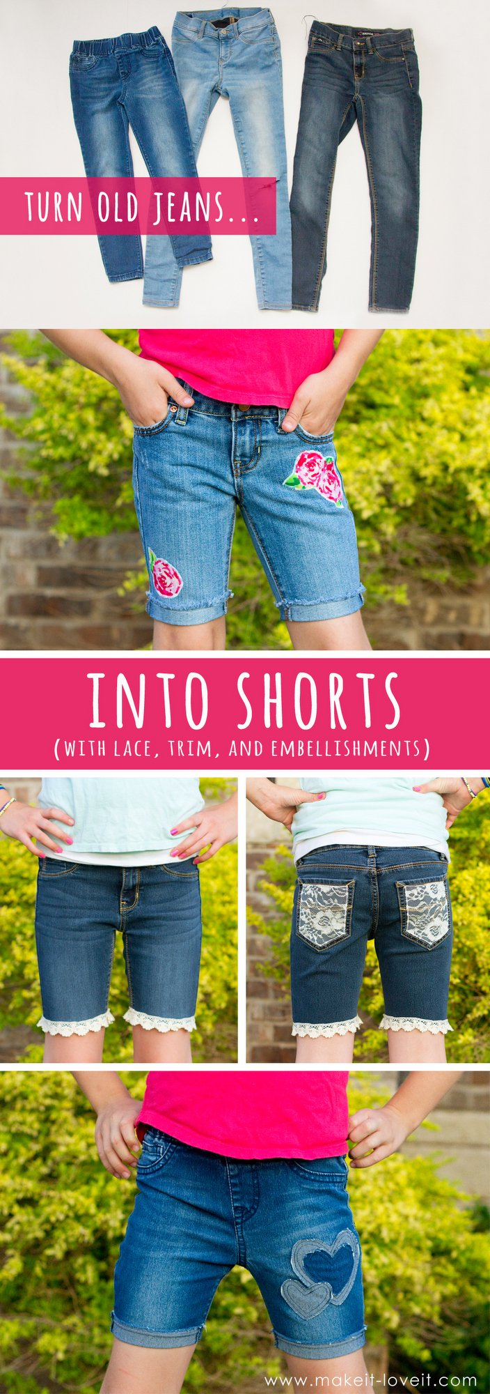 decee8d79b How To Turn Jeans Into Shorts (…with lace, trim, and embellishments!) |  Make It and Love It | Bloglovin'