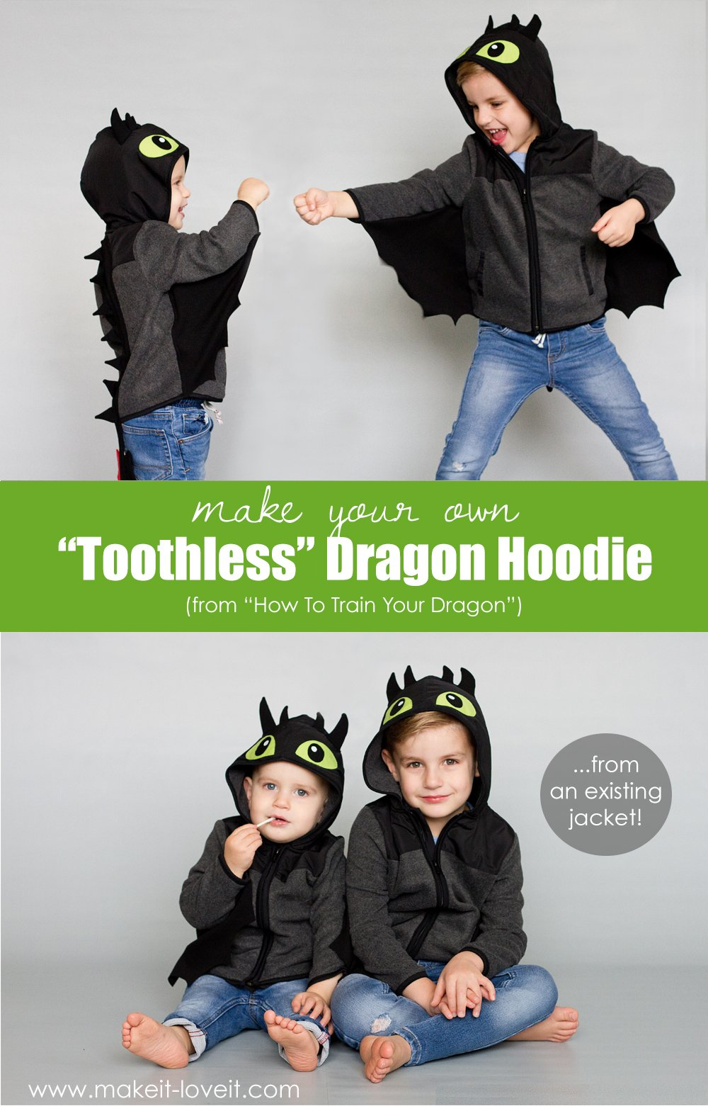 "Make a ""toothless"" dragon hoodie (…from an existing jacket!)"