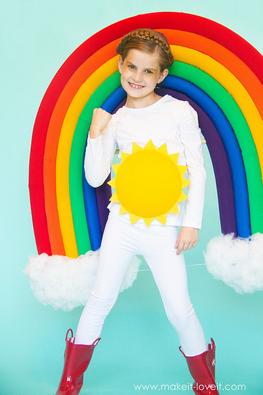 How to make a rainbow and sunshine costume 6 0