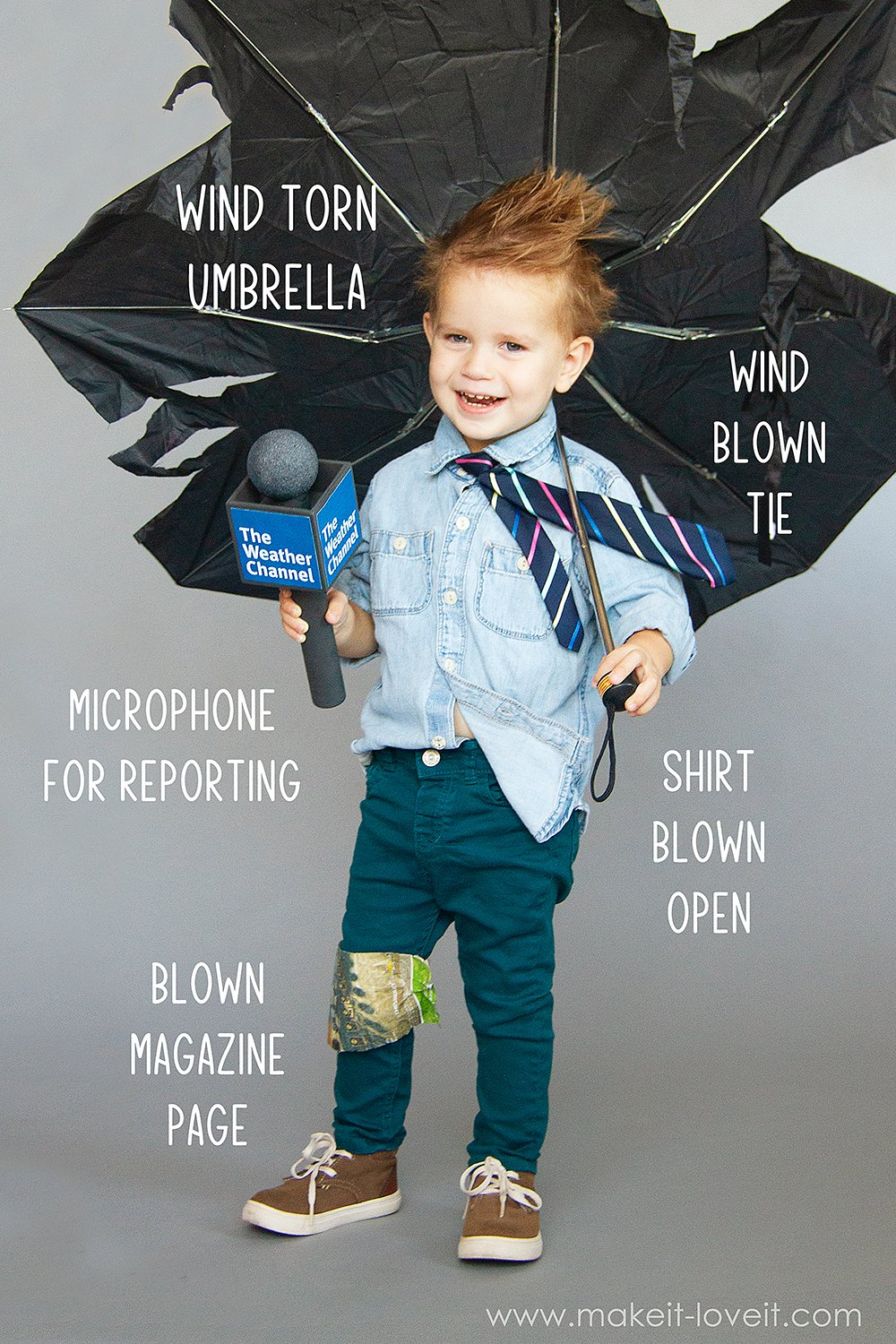How to make a no sew weatherman costume 6