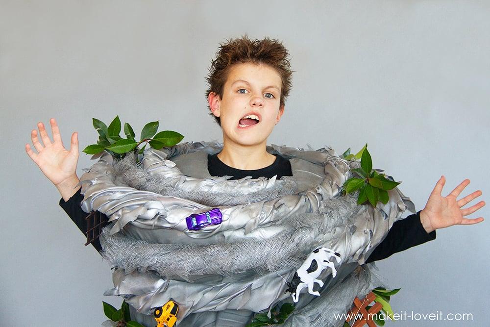 Make a no sew tornado costume 3