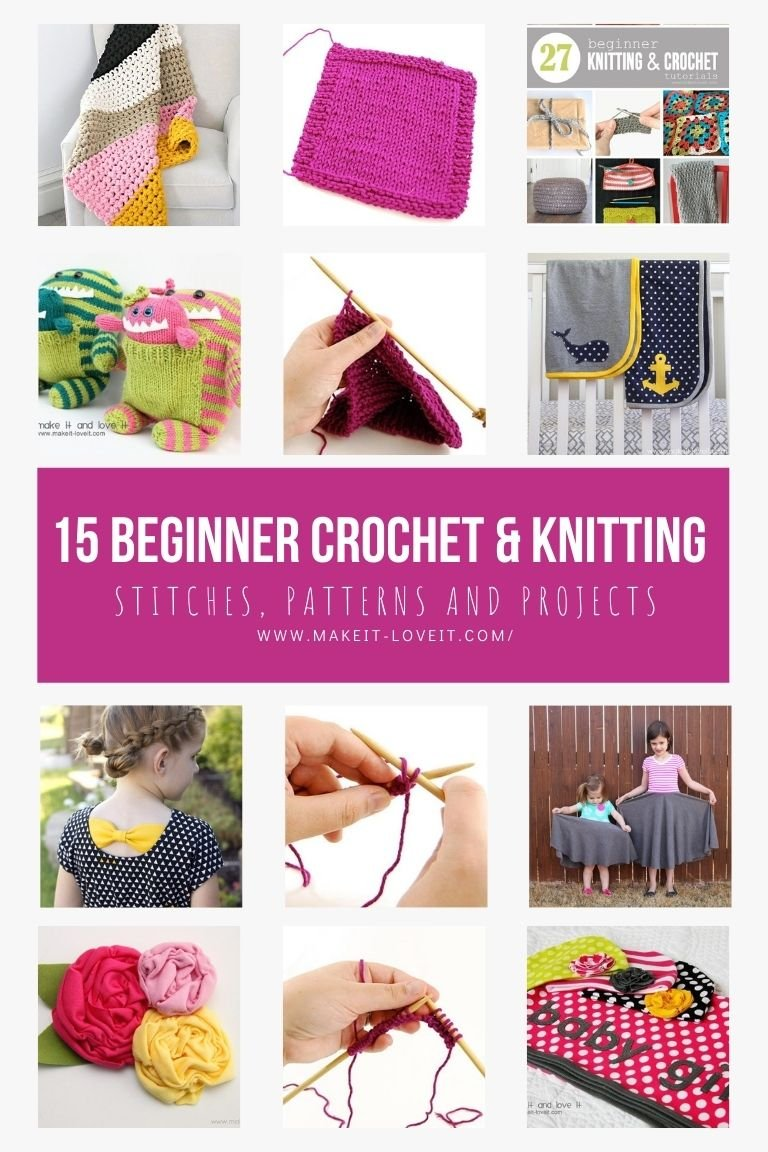 Collage photo of 15 beginner crochet knitting stitches patterns and projects