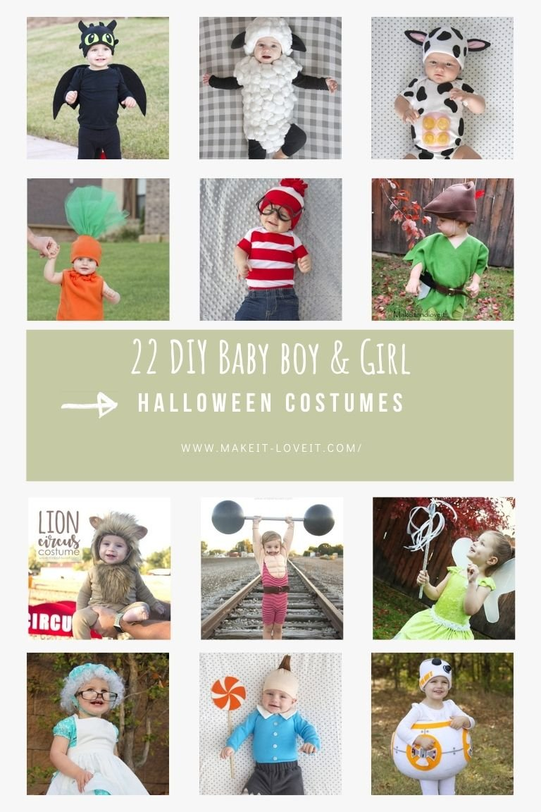 Collage photo of 22 diy baby boy girl halloween costumes 1