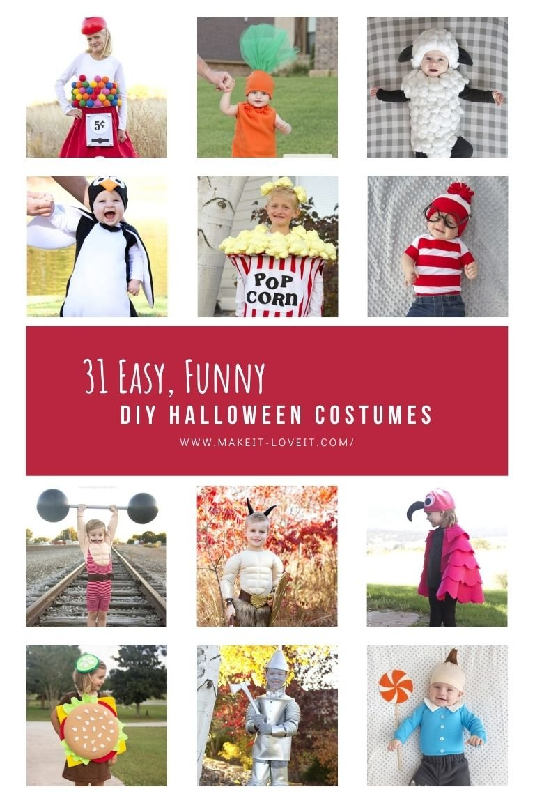 Collage photo of 31 easy funny diy halloween costumes 1