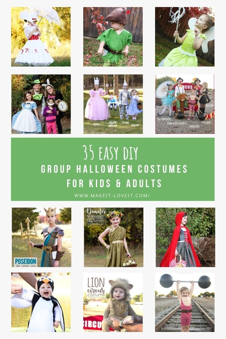 Collage photo of 35 easy diy group halloween costumes for kids adults