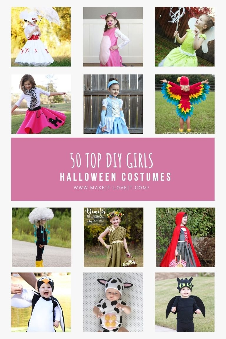 Collage photo of 50 top diy girls halloween costumes